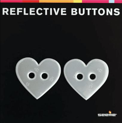 REFLEKSKNAPP - WHITE HEART (40 mm, 2 stk)