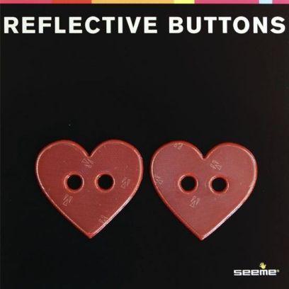 REFLEKSKNAPP - HEART RED (40 mm, 2 stk)