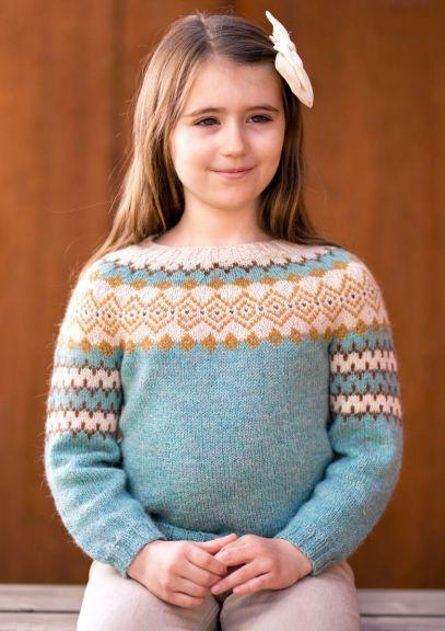 RetroFin-genser - Barn  (Lys sjøgrønn melert)