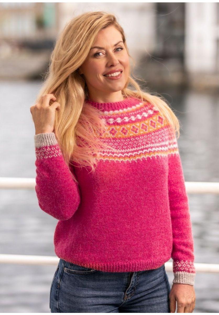 ByFin genser (Bringebær melert)